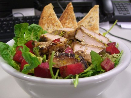 Leftover pork chops salad with cubed plums
