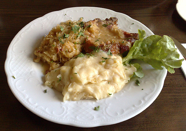 Pork chop sauerkraut with mashed potatoes