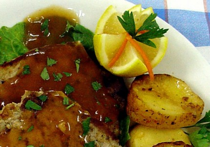 Grilled pork chops with soy sauce and potatoes