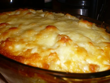 Baked macaroni cheese right from the oven