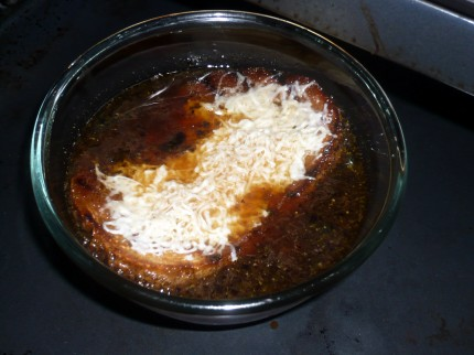 French onion soup in the oven