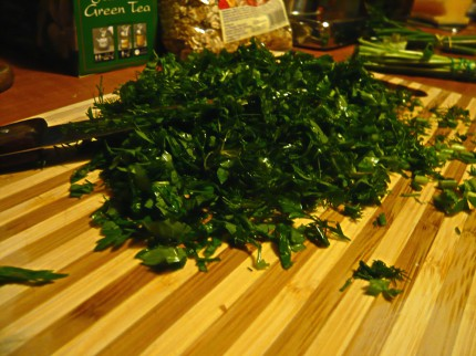 Chopped parsley and dill