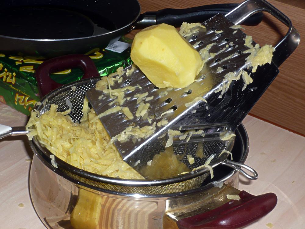 Grating potatoes