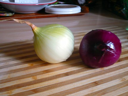 Two peeled onions