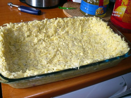 Raw potato quiche crust