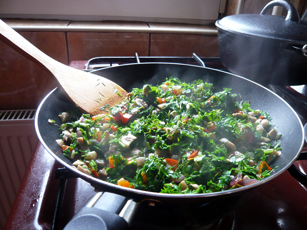 Vegetables in pan