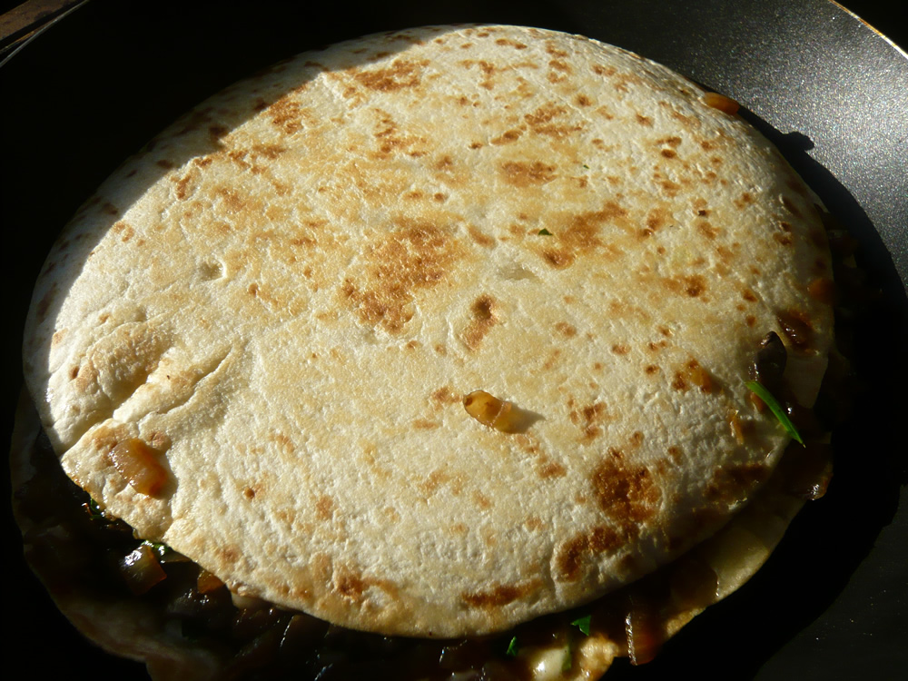 Flipped quesadilla - cooking on the second side