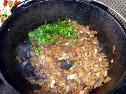 Mushrooms, onions, garlic and parsley = quesadilla filling