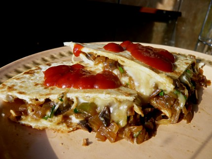 Quesadilla recipe with mushrooms and onions. Bon Appetit!
